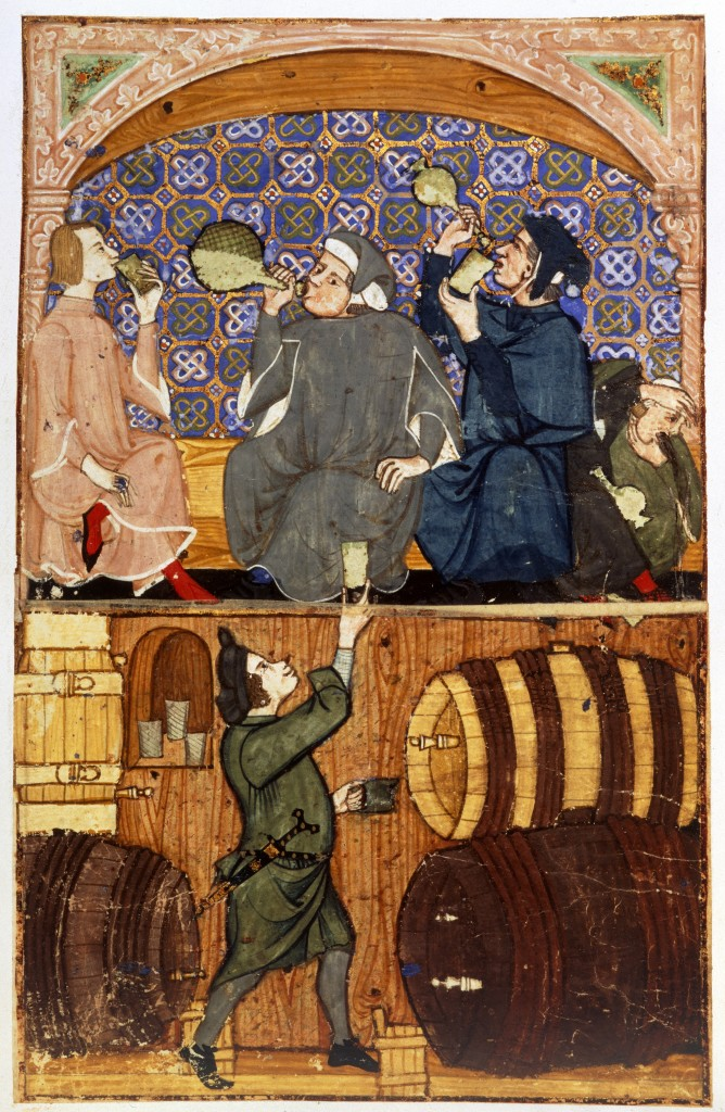 Tavern scene: men drinking (or passed out), with a cellarer below. Late 14th century.