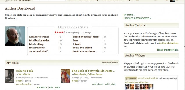 Goodreads author dashboard screenshot