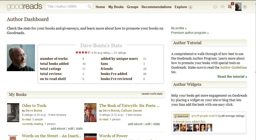 Goodreads author dashboard screenshot