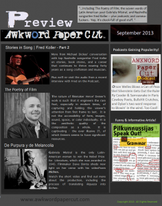 Awkword Paper Cut Newsletter for September 2013
