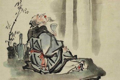 the poet Li Bai raising his glass