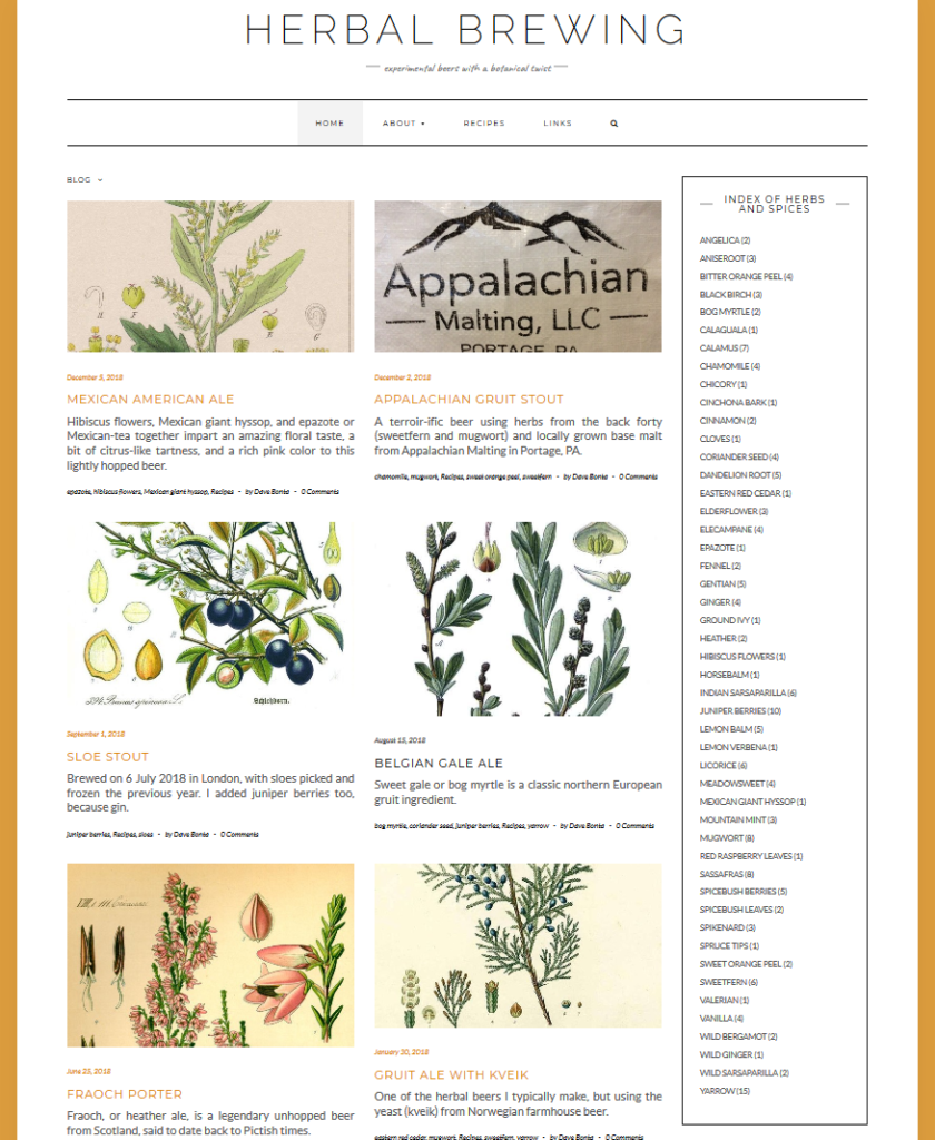 screenshot of Herbal Brewing front page