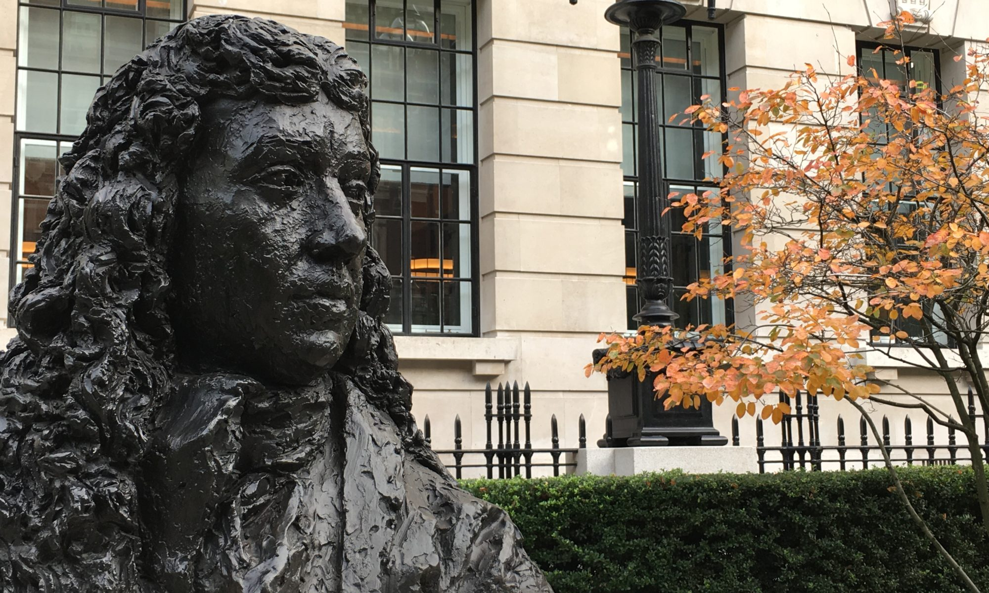 bust of Samuel Pepys at the site of his former residence