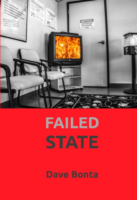 Failed State cover with image of waiting room with televison displaying flames